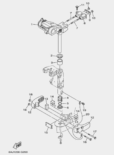 Запчасти кронштейна ч. 2 для лодочного мотора F20 Sea-PRO