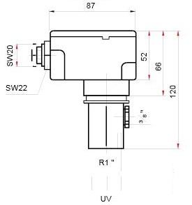 Размеры датчика Siemens QRA10.C