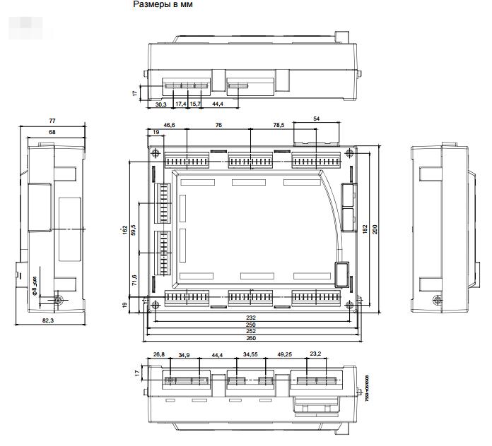 Размеры менеджера горения Siemens LMV51.000C2