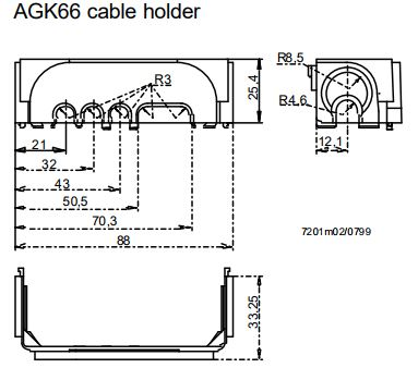 Размеры держателя сальника кабеля Siemens AGK65.1