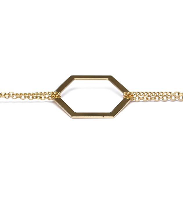 романтичный браслет Hexagone lisse chaine dоre из позолоченной латуни от Chic Alors Paris