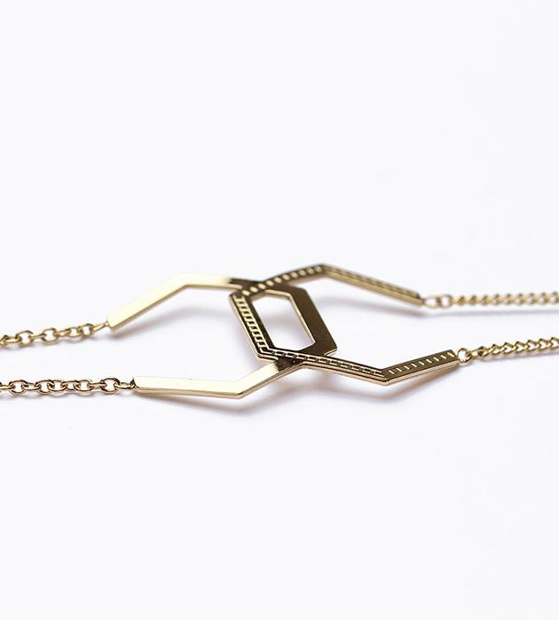 стильный браслет ручной работы Hexagone Double от Chic Alors Paris