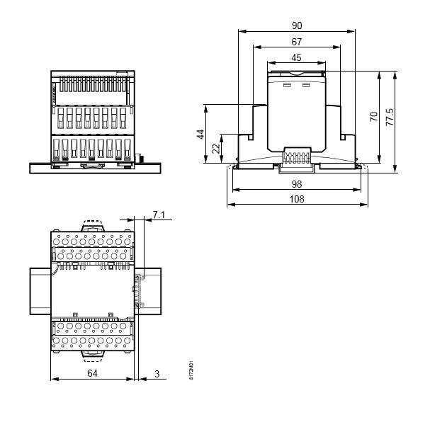 Размеры модуля 8 дискретных входов Siemens TXM1.8D