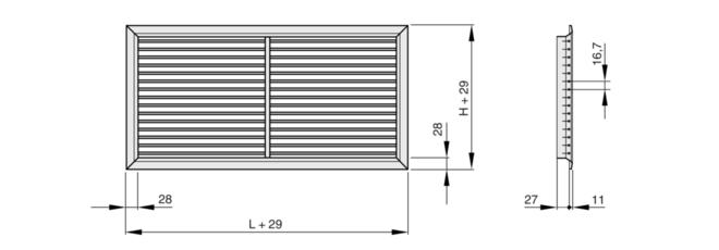 Размеры решетки Trox AH 525x225