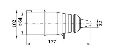 Вилка силовая ССИ-025 габаритный размер