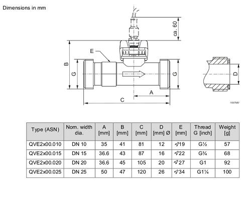Размеры датчика Siemens QVE2000.020