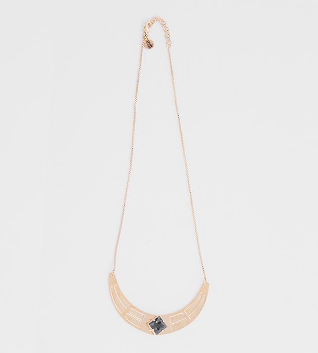 купите золотое колье с синим кристаллом от Chic Alors-Paris