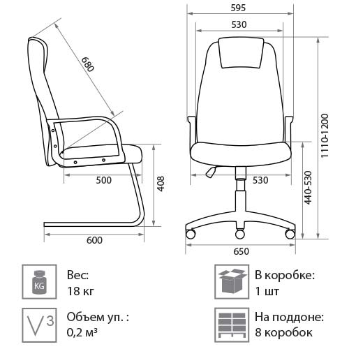 Кресло Прима размеры