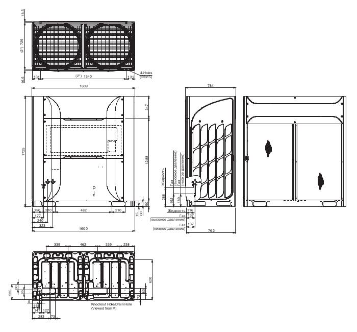 Размеры наружного блока Hitachi RAS-24FSXNSE