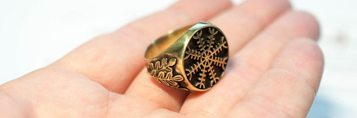 Агисхьяльм бронзовое кольцо