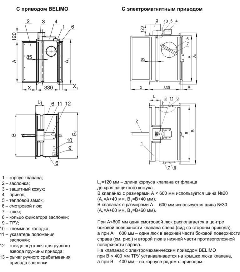 Схема клапана КЛОП-1(60)-НЗ-1300х700-ЭМ(12/24/220)-Н