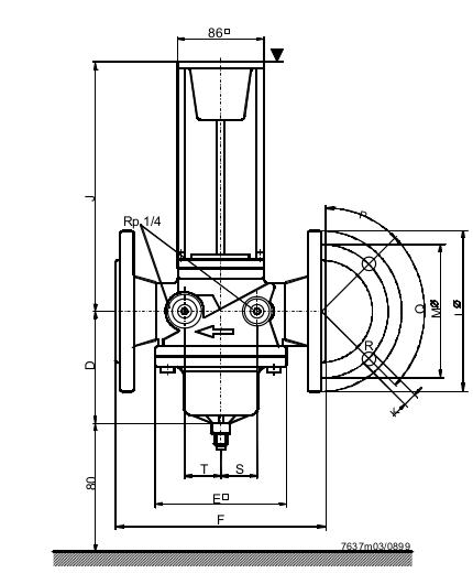 Размеры клапана Siemens VLF45.654