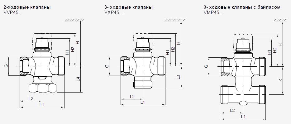 Размеры клапана Siemens VXP45.32-16