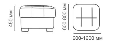 Габаритные размеры пуфа Макс П5