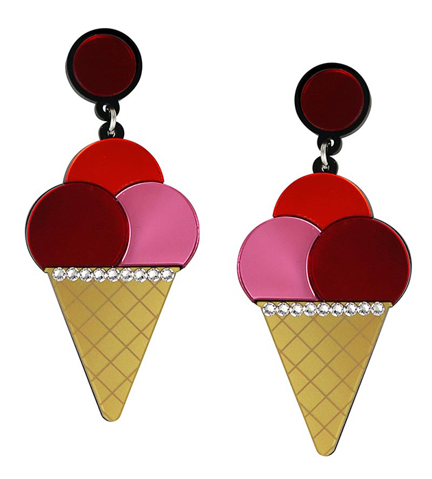 ироничные серьги с белыми кристаллами Swarovski от Jennifer Loiselle - Triple Ice Cream Pink