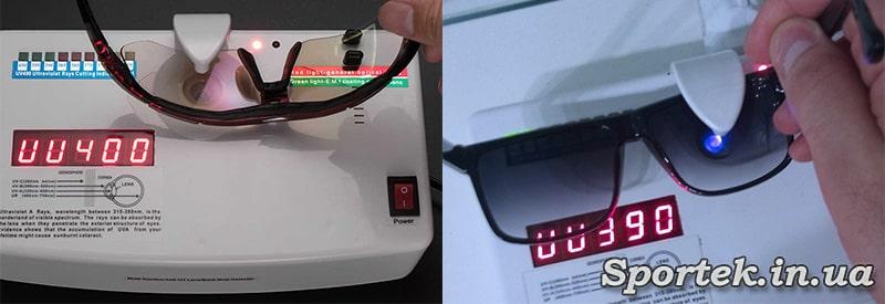 перевірка ультрафіолетового захисту на лінзах