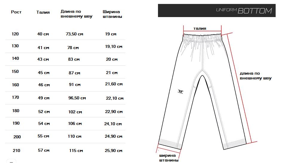 Размеры штанов Tusah