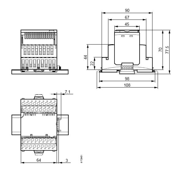 Размеры модуля 6 релейных выходов Siemens TXM1.6R