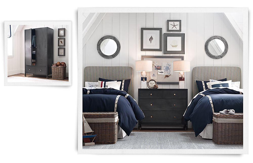 Комната для двух мальчиков в винтажном морском стиле Restoration Hardware