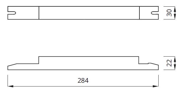 Размер блока аварийного питания для светильников с лампами серии T5 LIN