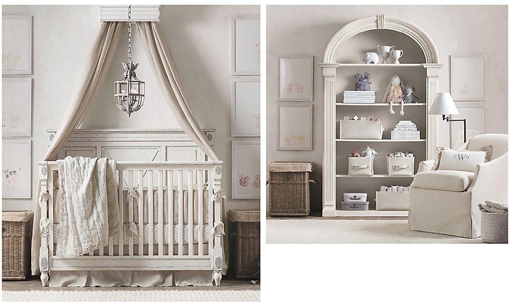 Комната унисекс в светлых тонах для новорожденного ребенка Restoration Hardware