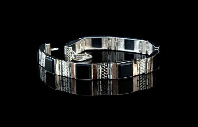 Мужские серебряные браслеты с агатом