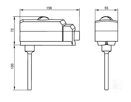Размеры ограничивающего термостата Siemens RAK-TR.1210B-H