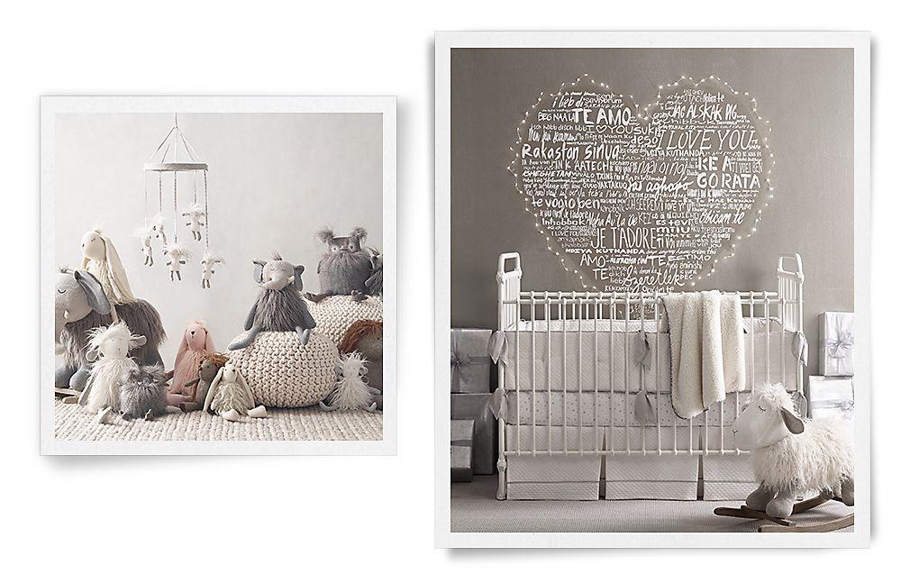 Современная детская комната в стиле унисекс для младенца Restoration Hardware