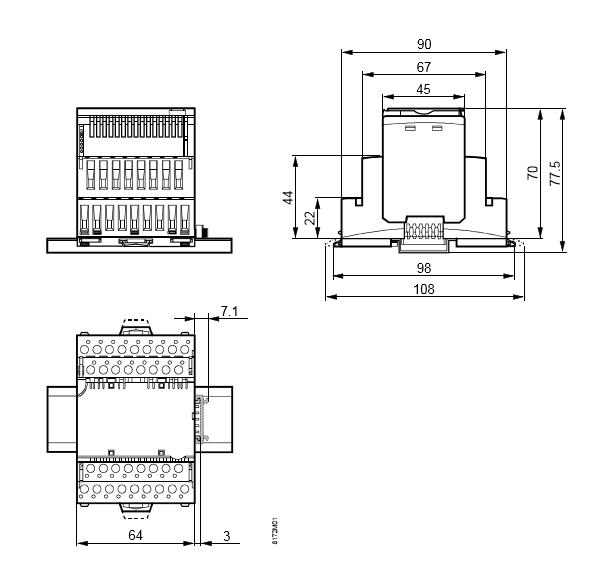Размеры модуля 16 дискретных входов Siemens TXM1.16D