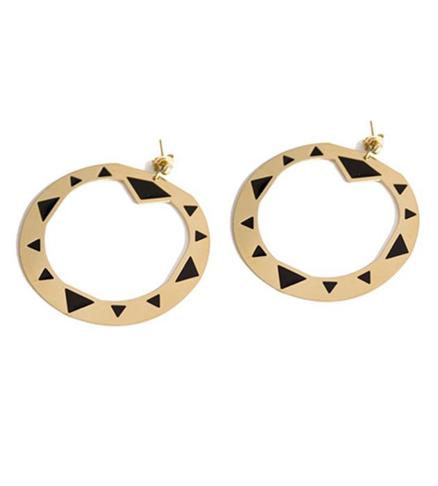 серьги круглой формы из позолоченной латуни от Chic Alors Paris - Creoles Alisha Noir