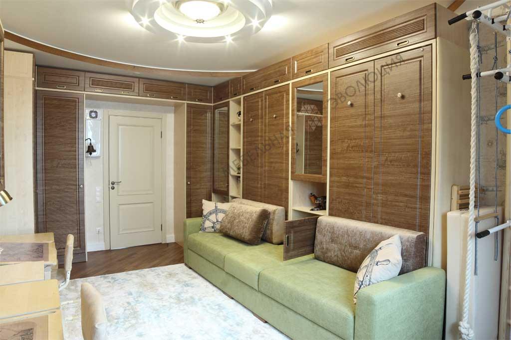 Меблировка комнаты в морском стиле.<br />Фасады МДФ под пленкой ПВХ с фрезеровкой