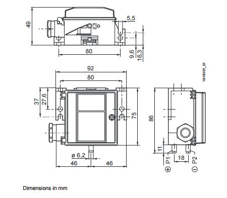 Размеры датчика Siemens QBM3020-25