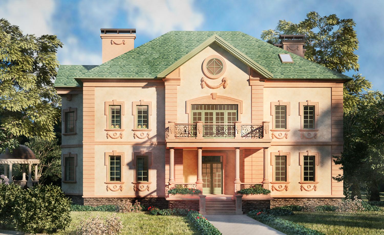 Дом с красивой лепниной