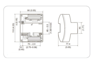 Размеры контроллера Tac Xenta 452A