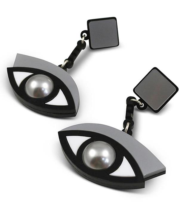 оригинальные серебристо-чёрные серьги из плексигласа In The Blink of An Eye Silver от Jennifer Loiselle