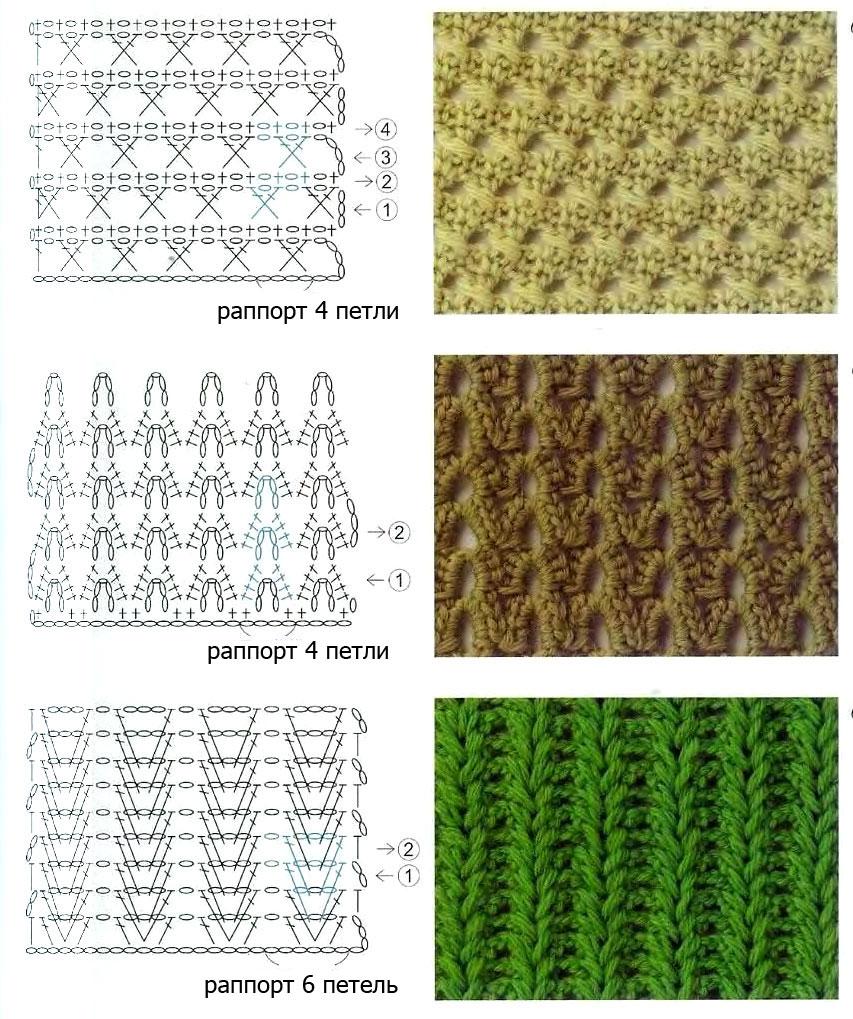 узоры вязания крючком со схемами и описанием