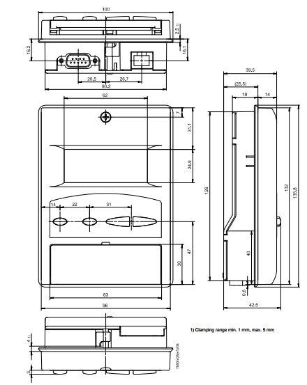 Размеры БЛОКА ОТОБРАЖЕНИЯ И ПРОГРАММИРОВАНИЯ Siemens AZL52.02B1