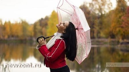 Прозрачный зонтик-наоборот с розовыми лепестками сакуры