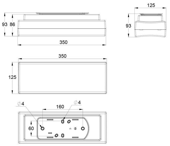 Монтажные размеры для светильника аварийного освещения помещений IP44 SAFE-82