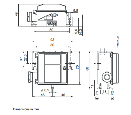 Размеры датчика Siemens QBM4100-1U