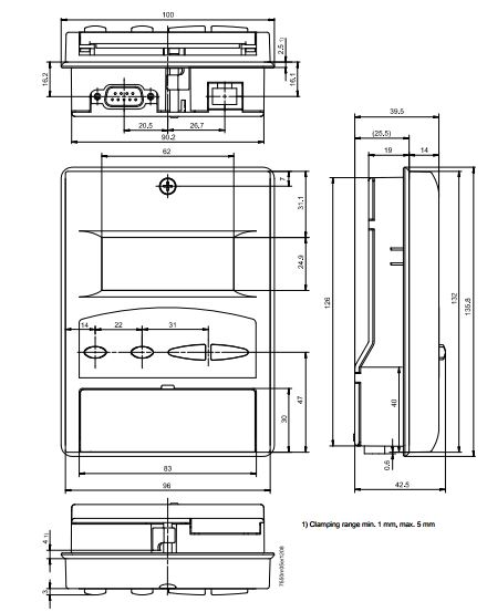 Размеры БЛОКА ИНДИКАЦИИ И УПРАВЛЕНИЯ Siemens AZL52.40B1