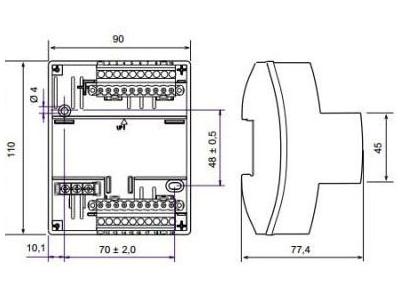 Размеры контроллера Tac Xenta 731