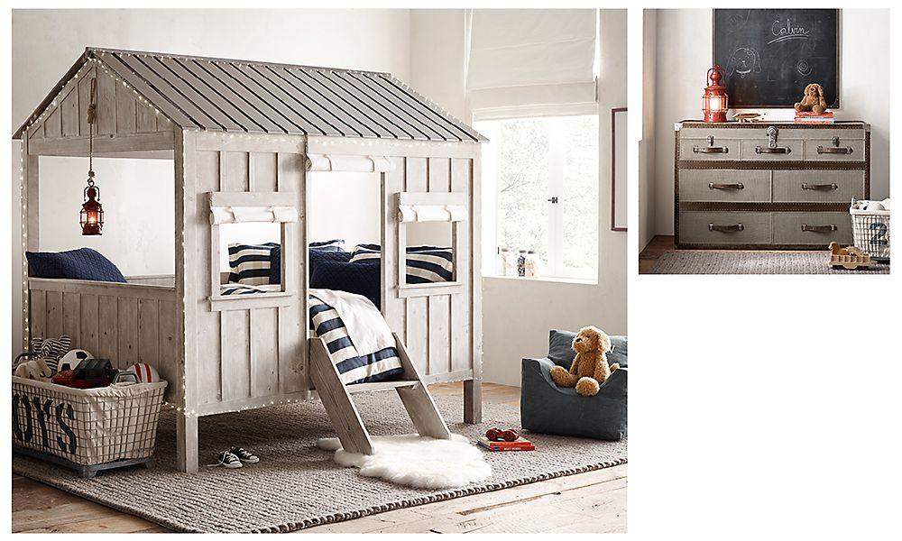 Детская комната в винтажном стиле с кроватью-домиком Restoration Hardware