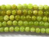 Нить бусин из опала зеленого, шар гладкий 4мм