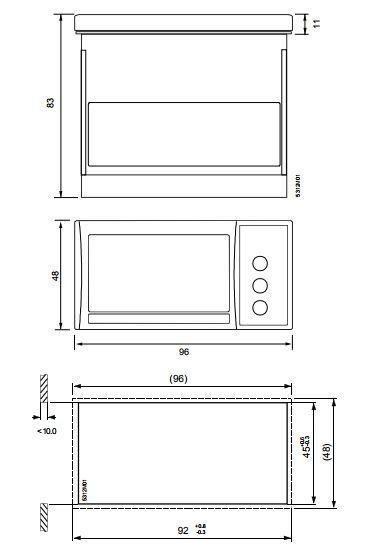 Размеры цифрового дисплея Siemens BAU200