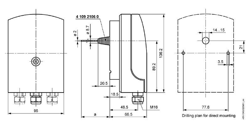 Размеры термостата Siemens QAF63.2-J