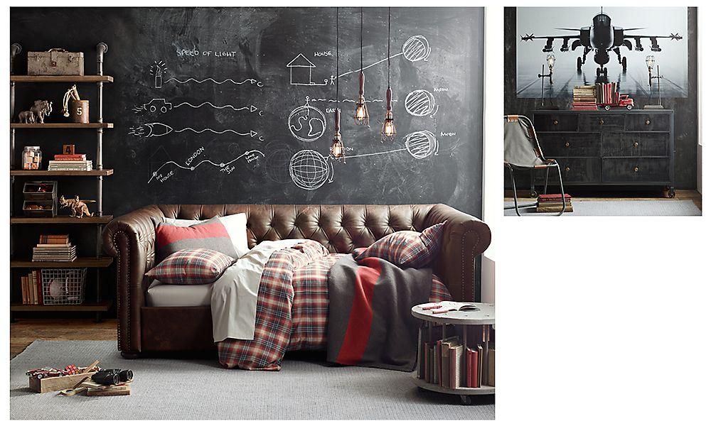 Комната для мальчика в индустриальном винтажном стиле Restoration Hardware