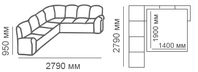 Габаритные размеры углового дивана Калифорния 3с3