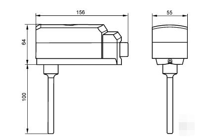 Размеры ограничивающего термостата Siemens RAK-TW.1200B-H
