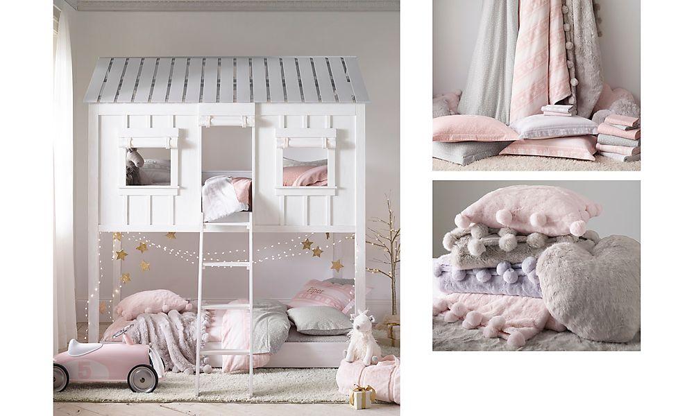 Сказочная комната для двух девочек с кроватью-домиком Restoration Hardware